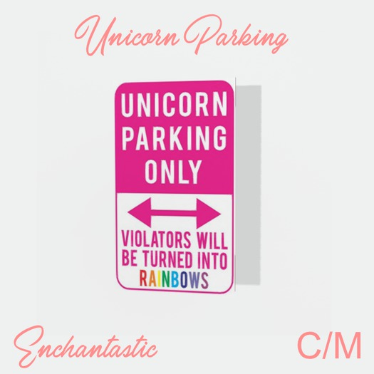 {ENT} Unicorn Parking Framed Poster