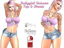 Babygirl Unicorn top & shorts