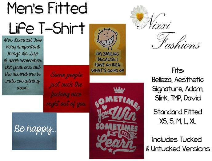 Nixxi Fashions - Men's Fitted Life T-Shirt (5 Options)