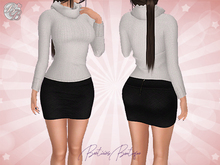 ♥ Gift Maitreya White Knit Sweater Mini Skirt ♥