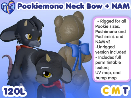 (mc) Pookiemono Tintable Neck Bow for Puchimono, Pookie, and NAM v2