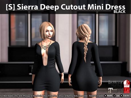 [S] Sierra Deep Cutout Mini Dress Black