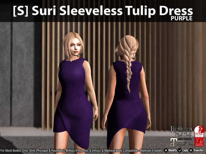 [S] Suri Sleeveless Tulip Dress Purple