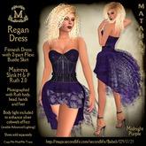Matahari Regan Dress with Bustle - Midnight Purple