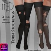 !MiH Torn blk stocking (sheer+opaque) [boxed]