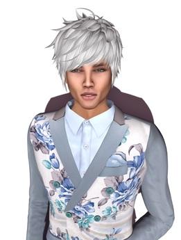 "MN Anime white male hair & shape & eyebrows for Altamura ""MAX"""