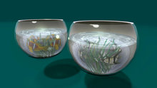 "2 LI ""Glass Fish Bowl w Animated Material Water & Glass Effect"" (no mod)"