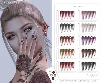 Ascendant - Shine Chrome Bento Nails Fatpack - Maitreya/Slink