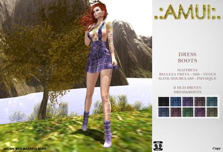 ".:AMUI:. ""Celia"" Dress & Boots (Maitreya, Belleza, Slink)"