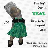 Miss Ing's Dinkie Teal Tribal Weave Layered Dress Set