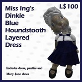 Miss Ing's Dinkie Blue Houndstooth Layered Dress Set