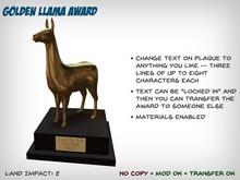 Golden Llama Award - Perfect for the Drama Llama in Your Life!