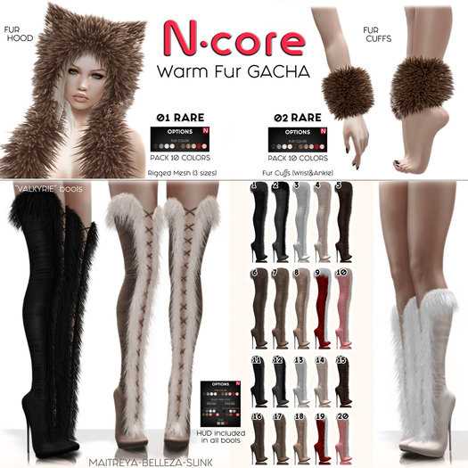 19. N-core VALKYRIE Fur Boots (Knee) RED