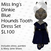 Miss Ing's Dinkie Blue Houndstooth Wrap Dress Set