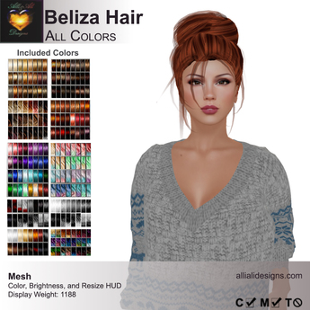 A&A Beliza Hair All Colors V2, resizable cute mesh updo, low display weight