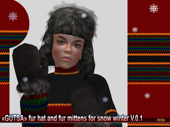 """DEMO -SKIFIJA- """"Gutsa"""" fur hat and fur mittens v.0.1"""
