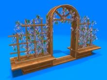 "2 prim full perm ""Flower Bench w Flowers"" sculpt maps kit, any plant texture"