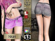 V-Twins Biker Clothes - Individual Items Mesh Skirt - Covfefe Collection (Slink Belleza & Maitreya)