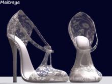 ~PP~ Shimmer White Antique Lace Heels -maitreya