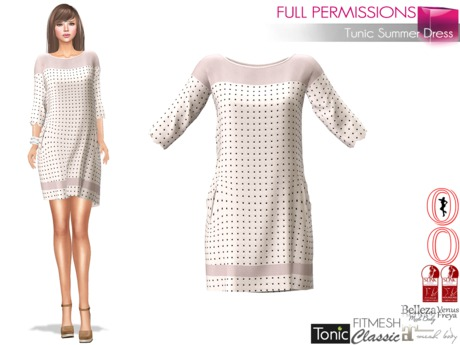Full Perm Ladies Tunic Summer Dress For Maitreya, Slink, Belleza, Ocacin, Voluptuous, Tonic, Classic