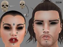 [SuXue Mesh] Halloween Piercings Skull Ari Separately Nose, Lip Eyebrow Bindi Jaw Full bright on / off Resize Unisex