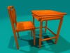 "1-2 prim full perm ""School Table w Chair"" sculpt map + bonus"