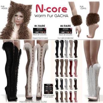 12. N-core VALKYRIE Fur Boots (Knee) GREY