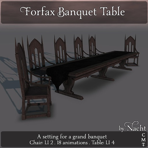 *~ by Nacht ~ Forfax Banquet Table Set  (Wear to unpack)