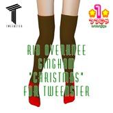 *1* Rib Overknee Gingham Christmas for Tweenster