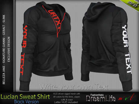 LUCIAN BLACK Single Color Sweatshirt MESH - SIGNATURE GIANNI - GERALT, SLINK, BELLEZA JAKE - FashionNatic