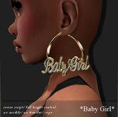 EARRING HOOP *BABY GIRL* GOLD -RYCA-