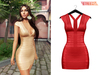 TETRA - Metallic bandage dress (Strawberry)