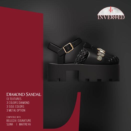 +INVERTED+ Diamond Sandal -Black-