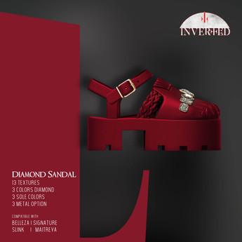 +INVERTED+ Diamond Sandal -Wine-