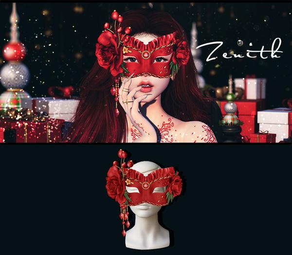 =Zenith=Venetian Style Masquerade Mask (Red)