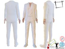 Very Stylish Blazer Open Chest Shirt Slim Fit Pants Shoes White Suit Signature, Jake, Gamit, Adin, Slink