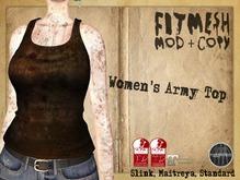 CHAVSHOPE - Women's Fitmesh Army Top - BROWN2