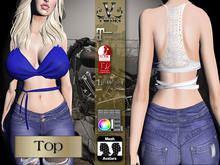 V-Twins Biker Clothes - Individual Items Mesh Top - Snazzy Blue Collection (Slink Belleza Maitreya  )