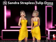 [S] Sandra Strapless Tulip Dress Yellow
