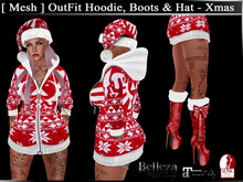 [ Mesh ] OutFit Hoodie Boots & Hat - Xmas