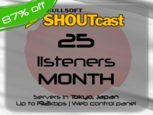 SHOUTcast stream server - 25 listeners - up to 192kbps - one month - Tokyo, Japan (87% off)