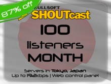 SHOUTcast stream server - 100 listeners - up to 192kbps - one month - Tokyo, Japan (87% off)