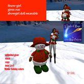 Snow girl doll giver wearable Santa Sac