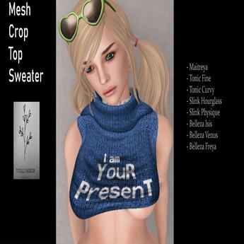 Blue I am Your Present Crop Top swear for Maitreya, Tonic,Belleza,Slink