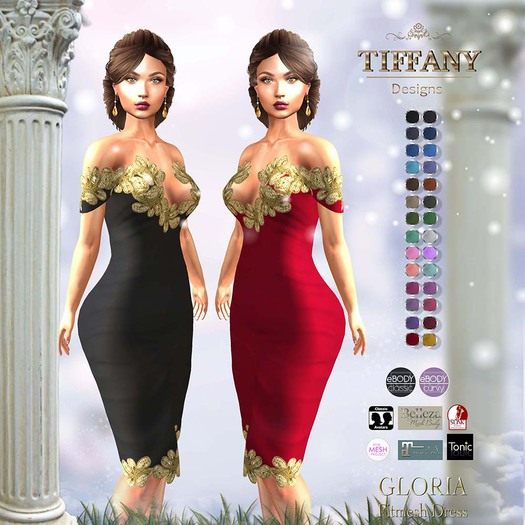::TD:: Gloria Fitmesh Dress - 28 Textures HUD