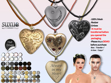 [SuXue Mesh] V2 FATPACK Amour Necklace Heart, with HUD 30 Heart Pattern 14 Chains 10 Leathers Textures, Resize, Unisex