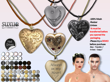 [SuXue Mesh] FATPACK Amore Heart Necklace HUD 30 Metal 14 Chains 10 Leather textures included Fatpack Unisex