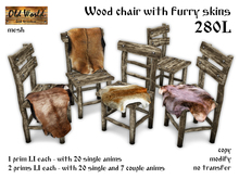 Wood chair with furry skins - Old World - Rustic / Medieval Furniture