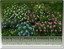 Mesh Wild Flower Echinacea by Felix 4 Shape-5 Colors-1 Li c/m