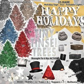 13 Action Tiny Tinsel Trees - Topper Tophat A